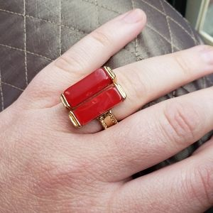 20s 30s Art Deco Red Celluloid and Gold Metal Ring
